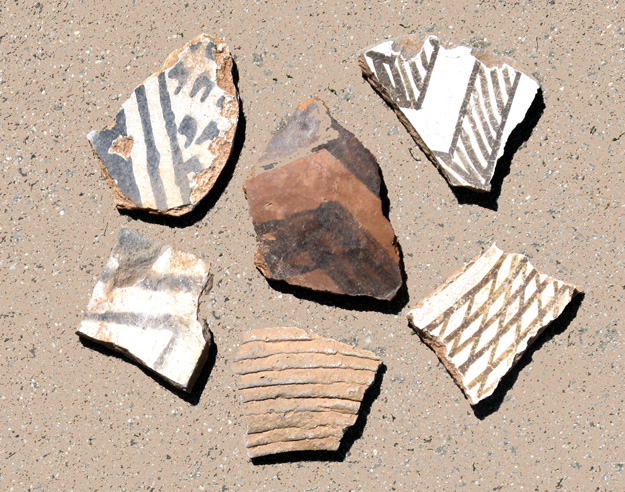Broken Anasazi Pots from different areas