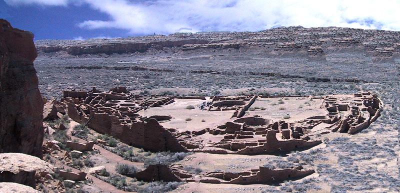 Pueblo Bonita built in Caco Canyon in 1000 - 1100 A.D,