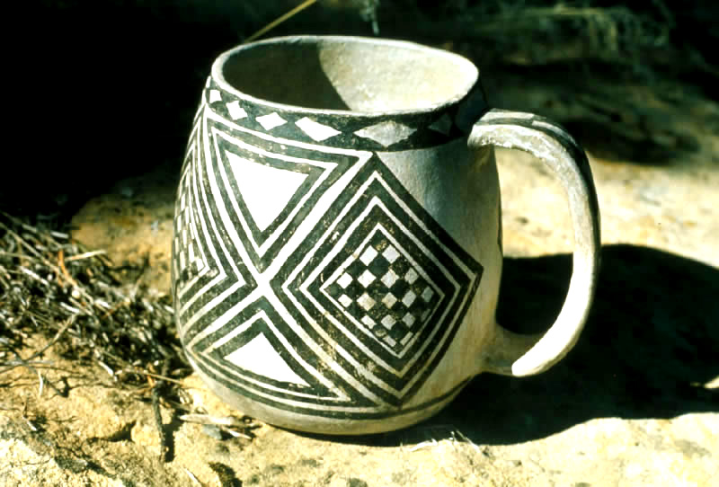 Black on White Anasazi Cup