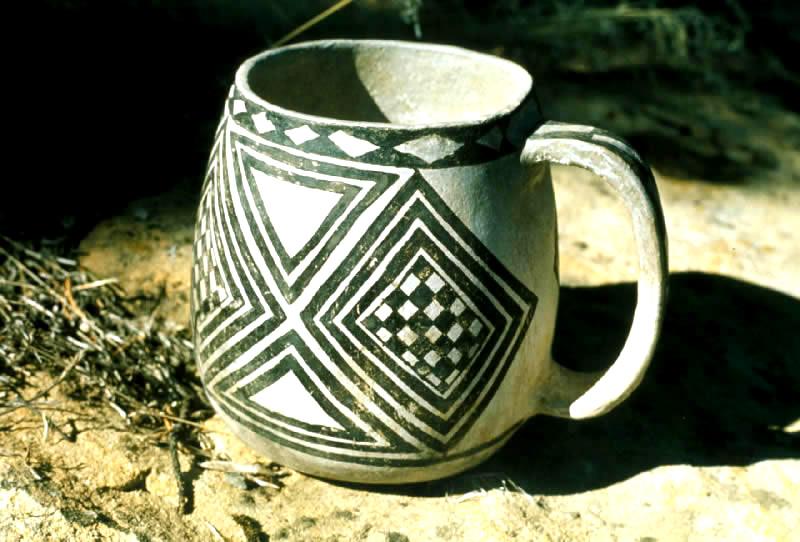 Black on White Anasazi Cup