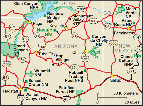 Map Of Arizona Indian Ruins.Navajo National Monument American Western Expansion
