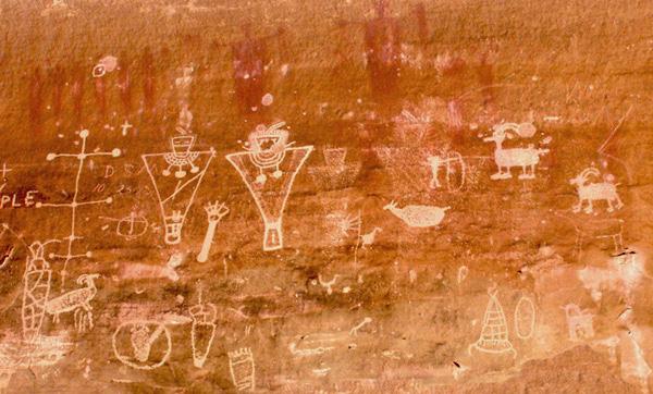 Fremont petroglyphs mixed with older petroglyphson